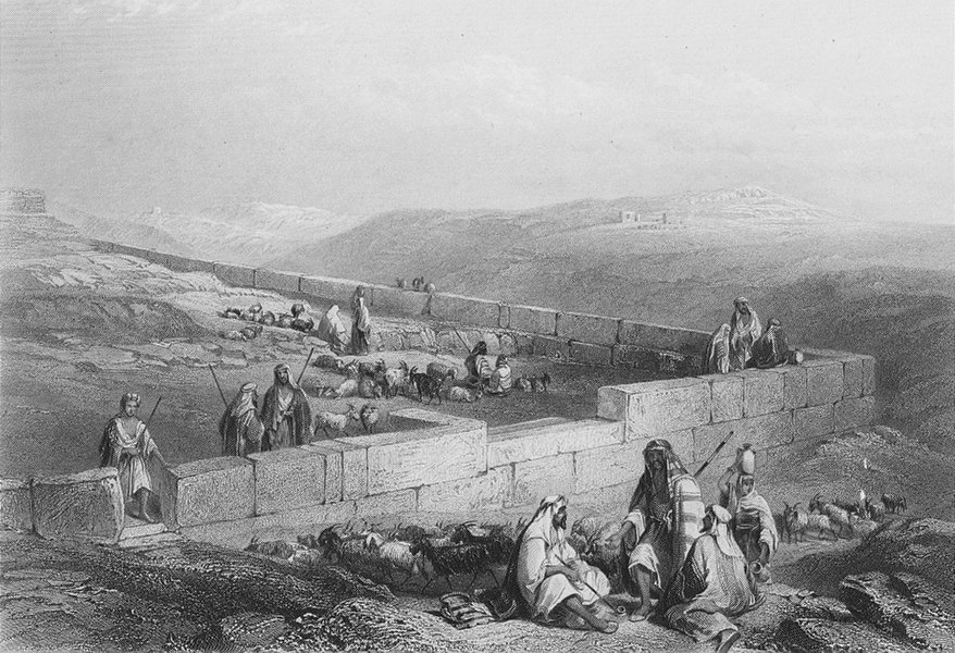 Associate Product ISRAEL. Masonry, Hebron-Bartlett 1847 old antique vintage print picture