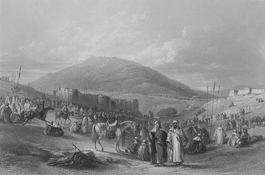 Associate Product ISRAEL. Fair, Khan et Tujjar(Mount Tabor)-Bartlett 1847 old antique print