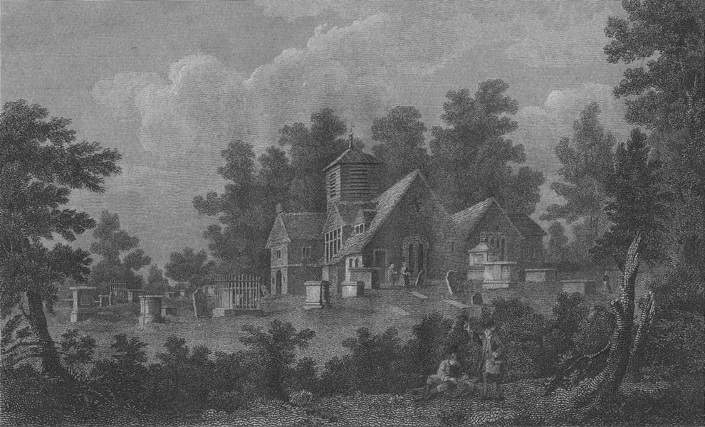 Associate Product HAMPSTEAD. The Old church 1814 antique vintage print picture
