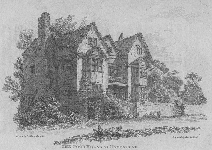 Associate Product HAMPSTEAD. The Poor House at Hampstead 1814 old antique vintage print picture