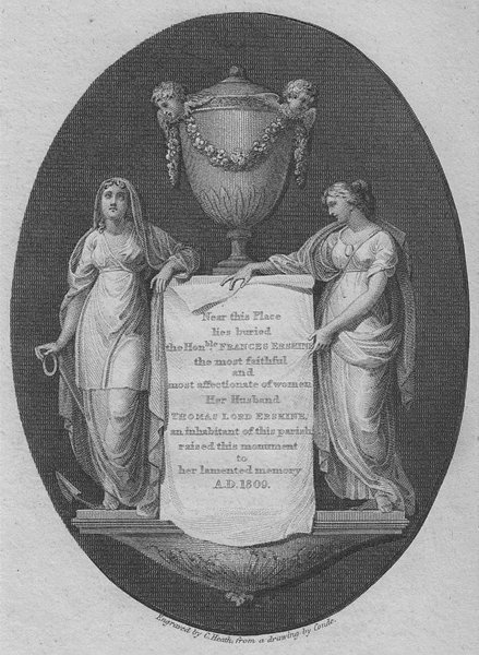 Associate Product LONDON. Lady Erskine monument, Hampstead Church 1814 old antique print picture