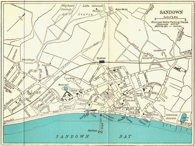 SANDOWN vintage town/city plan. Isle of Wight. WARD LOCK c1961 old vintage map