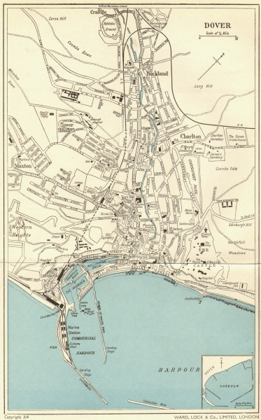 Associate Product DOVER vintage town/city plan. WARD LOCK c1960 old vintage map chart