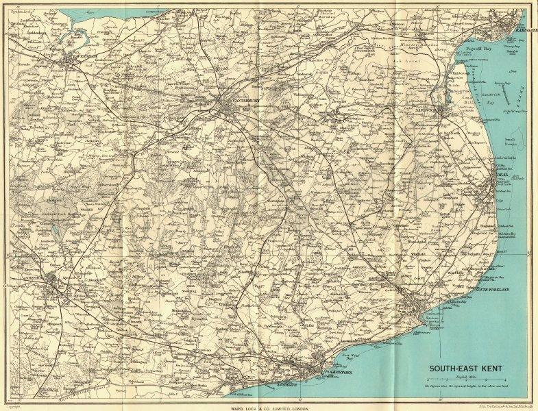 Associate Product SOUTH EAST KENT Canterbury Deal Dover Folkestone Ashford Faversham c1960 map