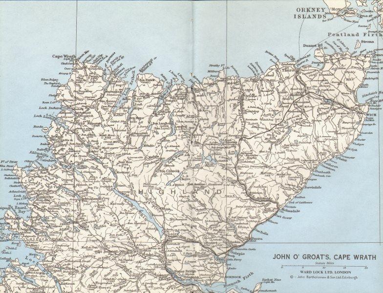 Associate Product SCOTTISH HIGHLANDS. John O'Groat's Cape Wrath Thurso Pentland Firth 1975 map