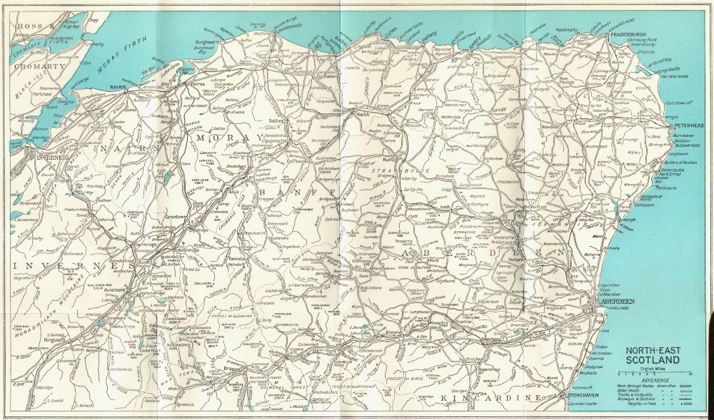 Associate Product NORTH EAST SCOTLAND. Aberdeen Inverness Banff Moray Nairn Elgin 1964 old map