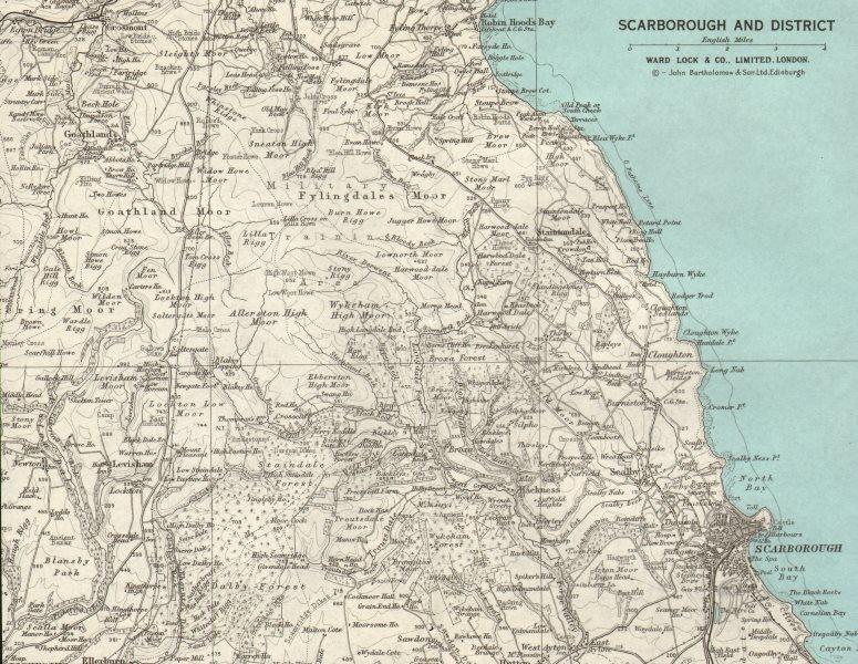 Associate Product SCARBOROUGH & ENVIRONS Yorkshire Moors Robin Hood's Bay. WARD LOCK 1966 map