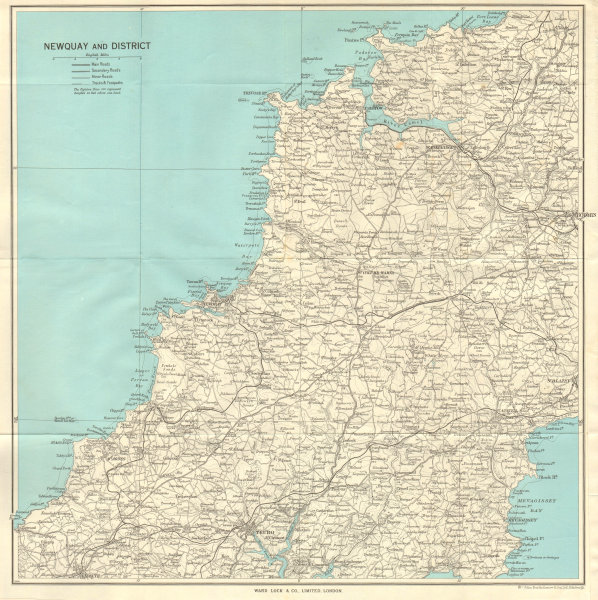 Associate Product NORTH CORNWALL Newquay Padstow Truro Redruth St Agnes Mevagissey 1964 old map