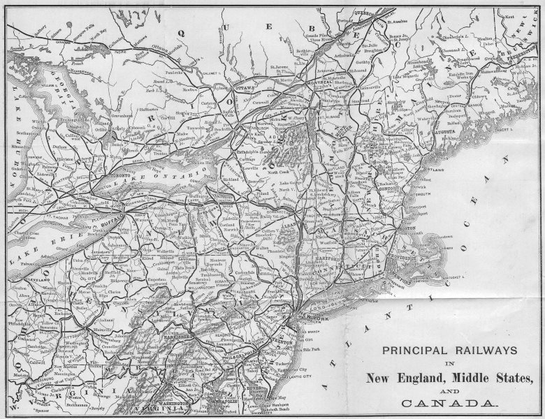 USA. Map of the Principal railways in New England, Mid West  & Canada 1893