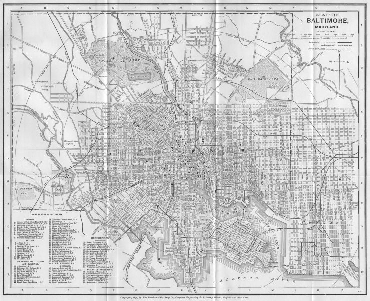 Associate Product BALTIMORE, MARYLAND. Antique City Town map plan 1893 old chart