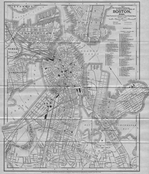 Associate Product BOSTON, MASSACHUSETTS. Matthews-Northrup antique city map plan 1893 old