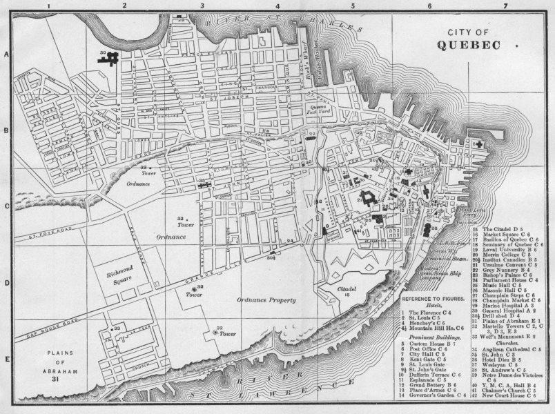 QUÉBEC QUEBEC CITY. Antique City Town map plan 1893 old chart