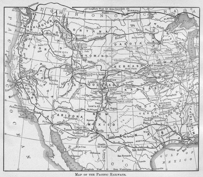 Associate Product USA RAILROADS. Antique Map of the Pacific railways 1893 old chart