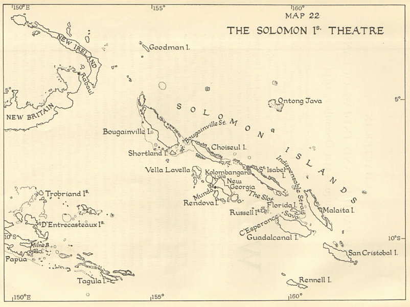 Associate Product World War 2. The Solomon Islands Theatre. Pacific 1956 old vintage map chart