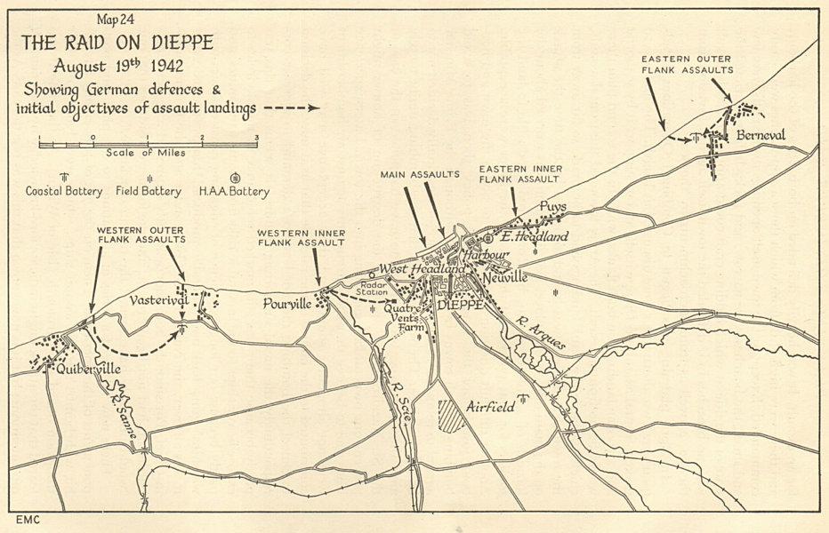 Associate Product World War 2. The Raid on Dieppe - August 19th 1942. Seine Maritime 1956 map