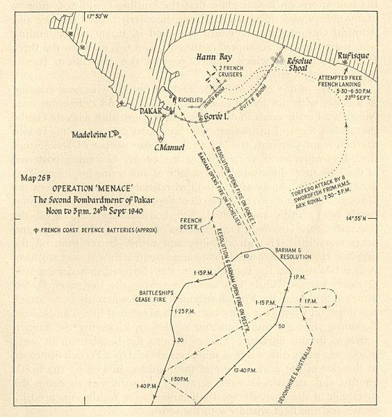Associate Product Operation Menace. 2nd bombardment of Dakar 24 September 1940. WW2 1954 old map