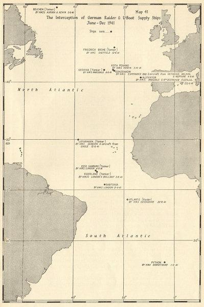 Associate Product Atlantic Ocean. German Raider & U-Boat Supply Ships interception 1941 1954 map