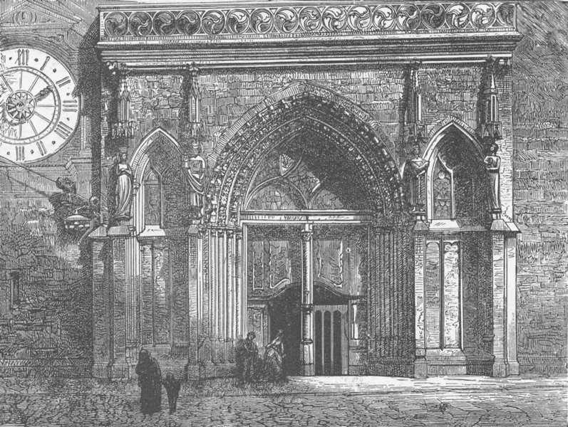 Associate Product SWITZERLAND. Cathedral door, Basel 1903 old antique vintage print picture
