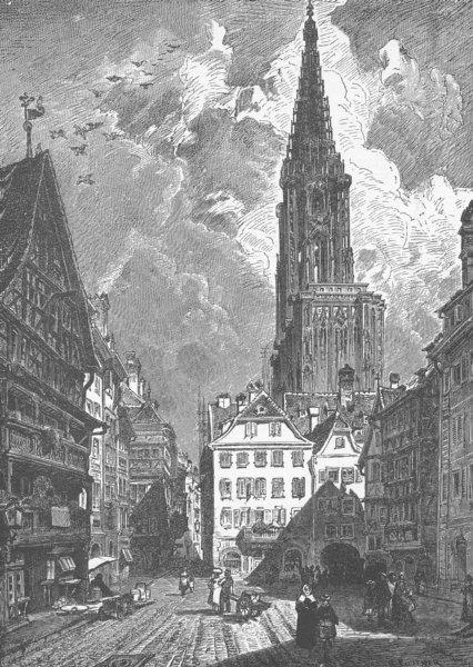 Associate Product FRANCE. Pig-Market, Strasbourg 1903 old antique vintage print picture