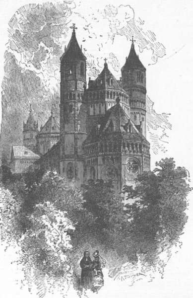 Associate Product GERMANY. The Cathedral, Worms 1903 old antique vintage print picture