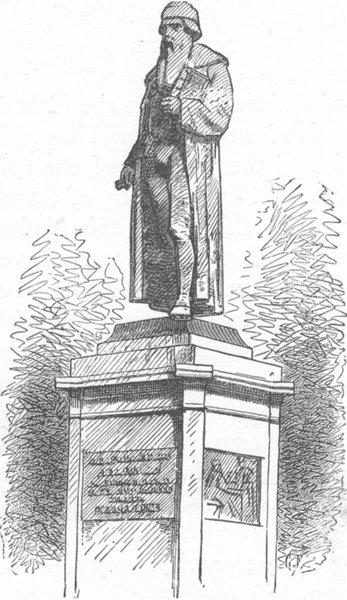 GERMANY. Gutenberg's monument, Mainz 1903 old antique vintage print picture