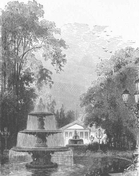 Associate Product GERMANY. Fountain, ihe Kurgarten, Wiesbaden 1903 old antique print picture