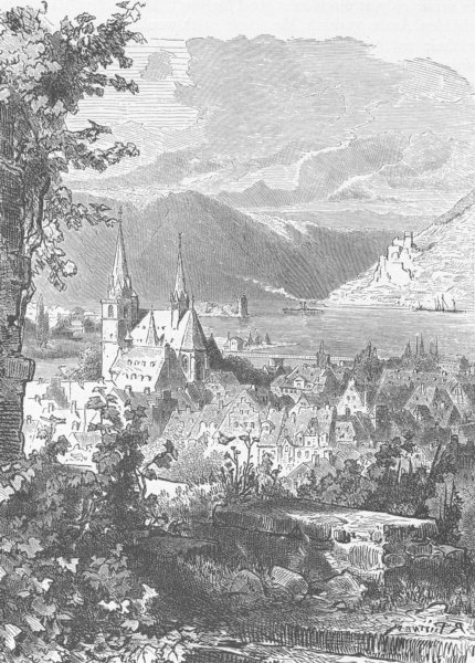 Associate Product GERMANY. Bingen, from Burg Klopp 1903 old antique vintage print picture