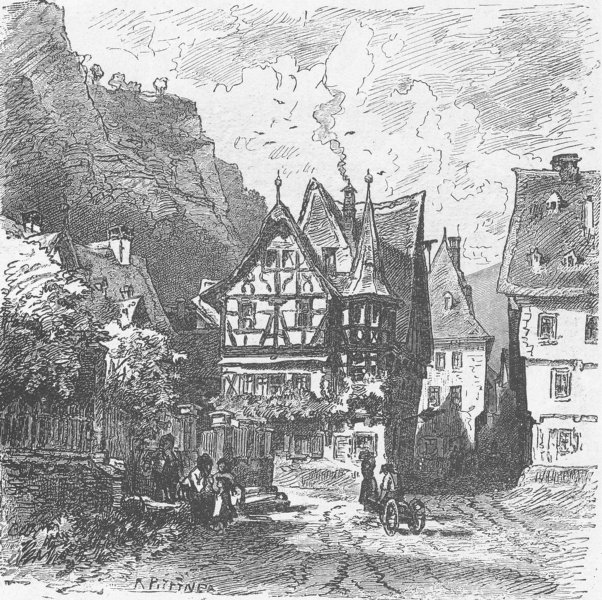 Associate Product GERMANY. Street in Bacharach 1903 old antique vintage print picture