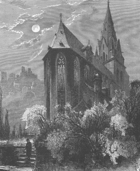 Associate Product OBERWESEL. Holy Virgin church & Schönburg castle 1903 old antique print