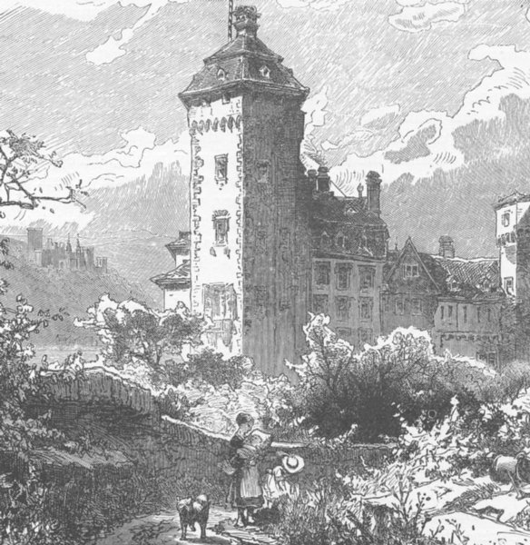 Associate Product GERMANY. Castle in Oberlahnstein 1903 old antique vintage print picture