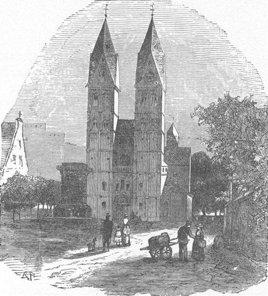 Associate Product GERMANY. Koblenz. Church of St Castor 1903 old antique vintage print picture