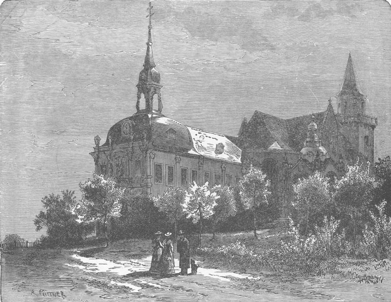 Associate Product GERMANY. Church on the Kreuzberg, Bonn 1903 old antique vintage print picture