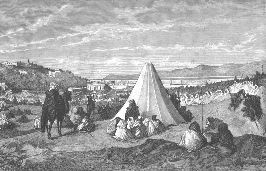 Associate Product MOROCCO. Fete of birth Mohammed, Tangier 1882 old antique print picture