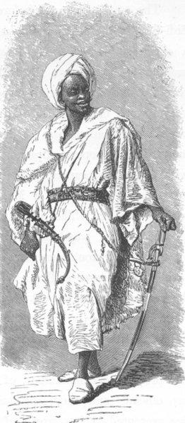MOROCCO. General Hamed Ben Kasen Buhamei 1882 old antique print picture