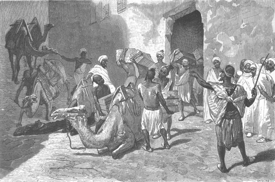MOROCCO. Loading the camels 1882 old antique vintage print picture