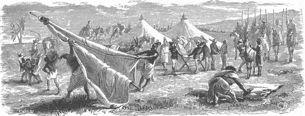 Associate Product MOROCCO. Striking the tents 1882 old antique vintage print picture