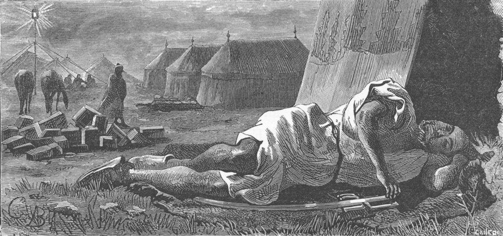 Associate Product MOROCCO. Selam sleeping before tent of Ambassador 1882 old antique print