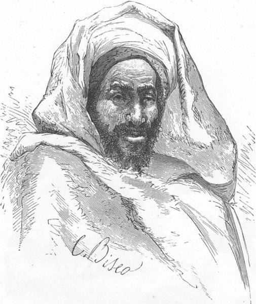 Associate Product MOROCCO. Type of native Beni-Hassan 1882 old antique vintage print picture
