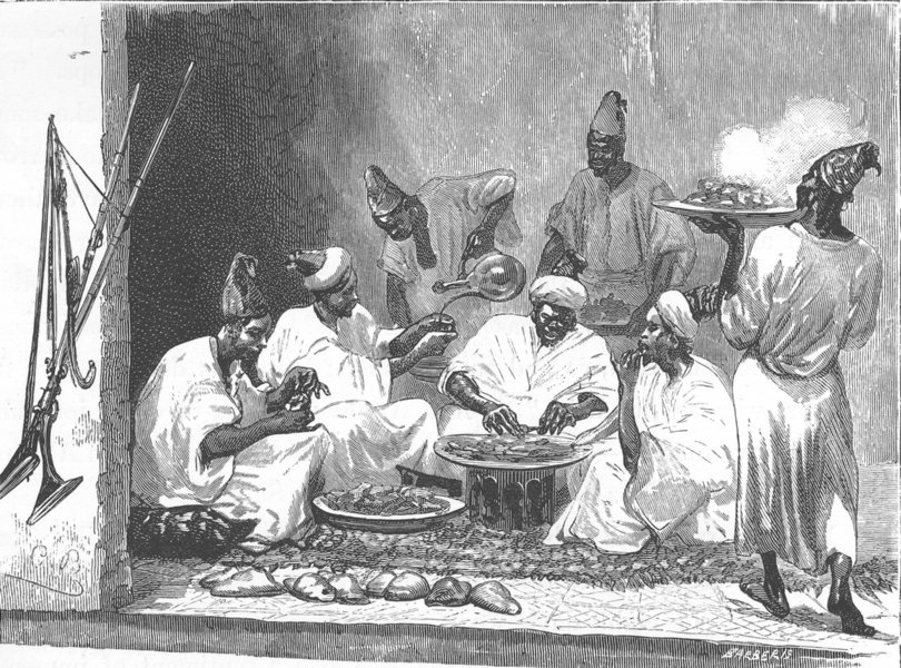 Associate Product MOROCCO. The officers at breakfast 1882 old antique vintage print picture