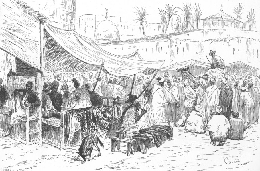 Associate Product MOROCCO. Square in Fes 1882 old antique vintage print picture