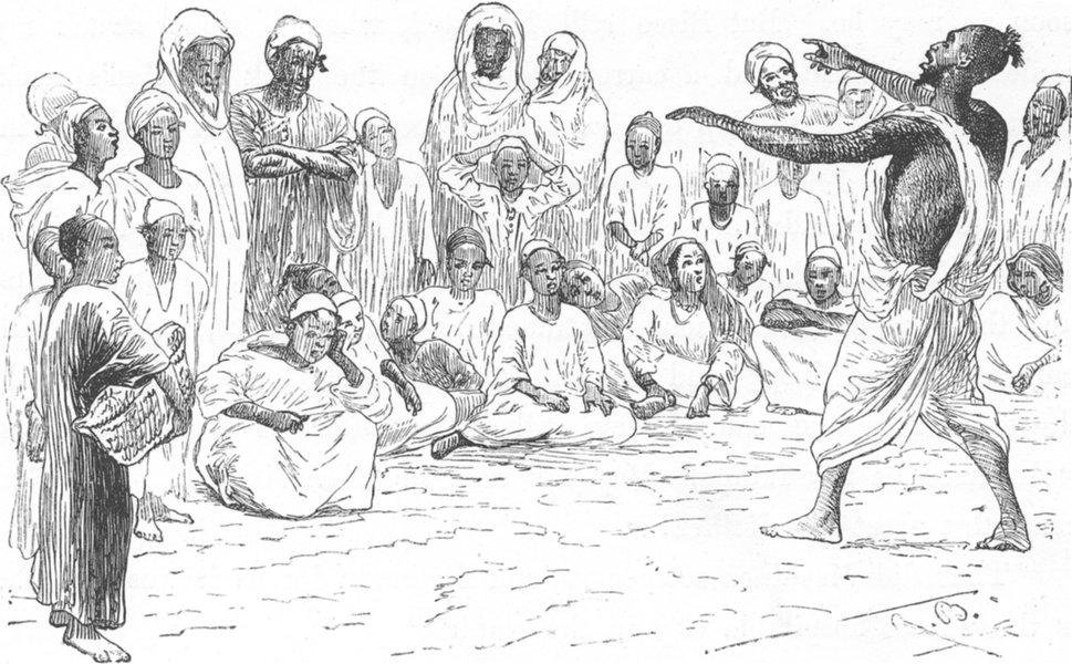 Associate Product MOROCCO. Street singer at Meknes 1882 old antique vintage print picture