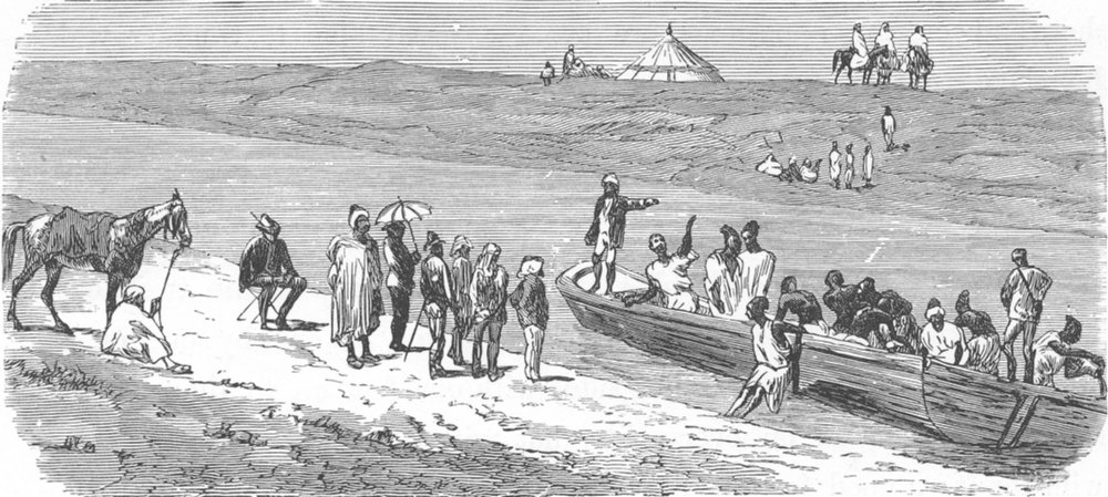 Associate Product MOROCCO. Crossing the Sebou 1882 old antique vintage print picture