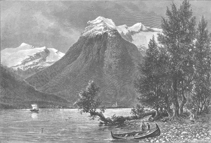 Associate Product NORWAY. A View on the Nord Fjord 1890 old antique vintage print picture
