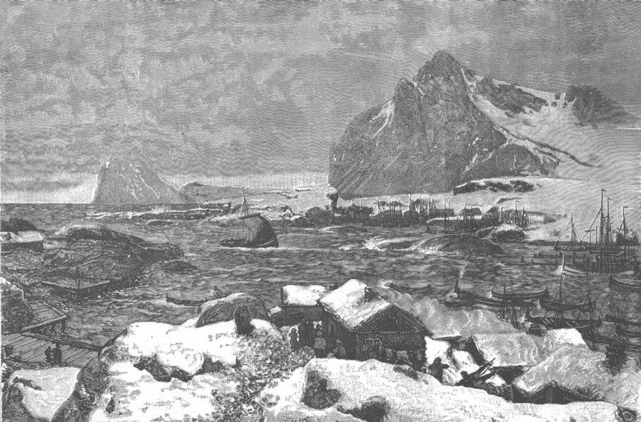 Associate Product NORWAY. A Lofoten Village during the Fishing Season 1890 old antique print