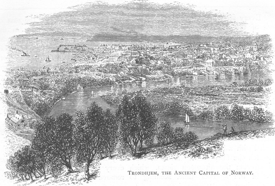 Associate Product NORWAY. Trondheim, the ancient Capital of Norway 1890 old antique print