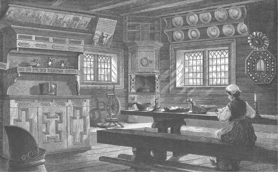 Associate Product NORWAY. Old Thelemarken House interior at Bygdo near Christiania (Olso) 1890