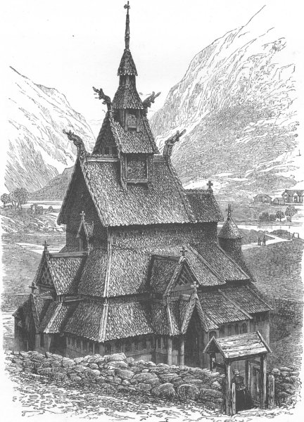 Associate Product NORWAY. Borgund Church 1890 old antique vintage print picture