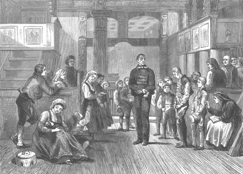 Associate Product NORWAY. The schoolmaster catechising in Hitterdal Church 1890 old print