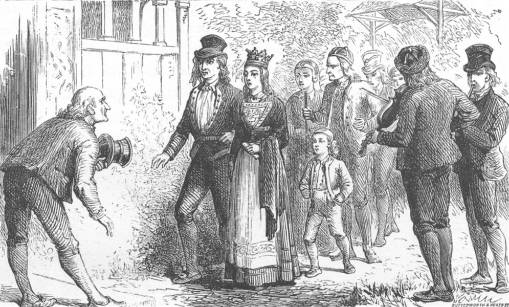 Associate Product NORWAY. The wedding procession. Romance. Marriage. SMALL 1890 old print