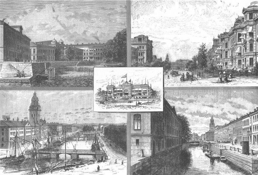 Associate Product SWEDEN. Views in Gothenburg 1890 old antique vintage print picture